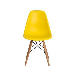 Kit 5 Cadeiras Eiffel Eames Dsw Amarelo Base Madeira
