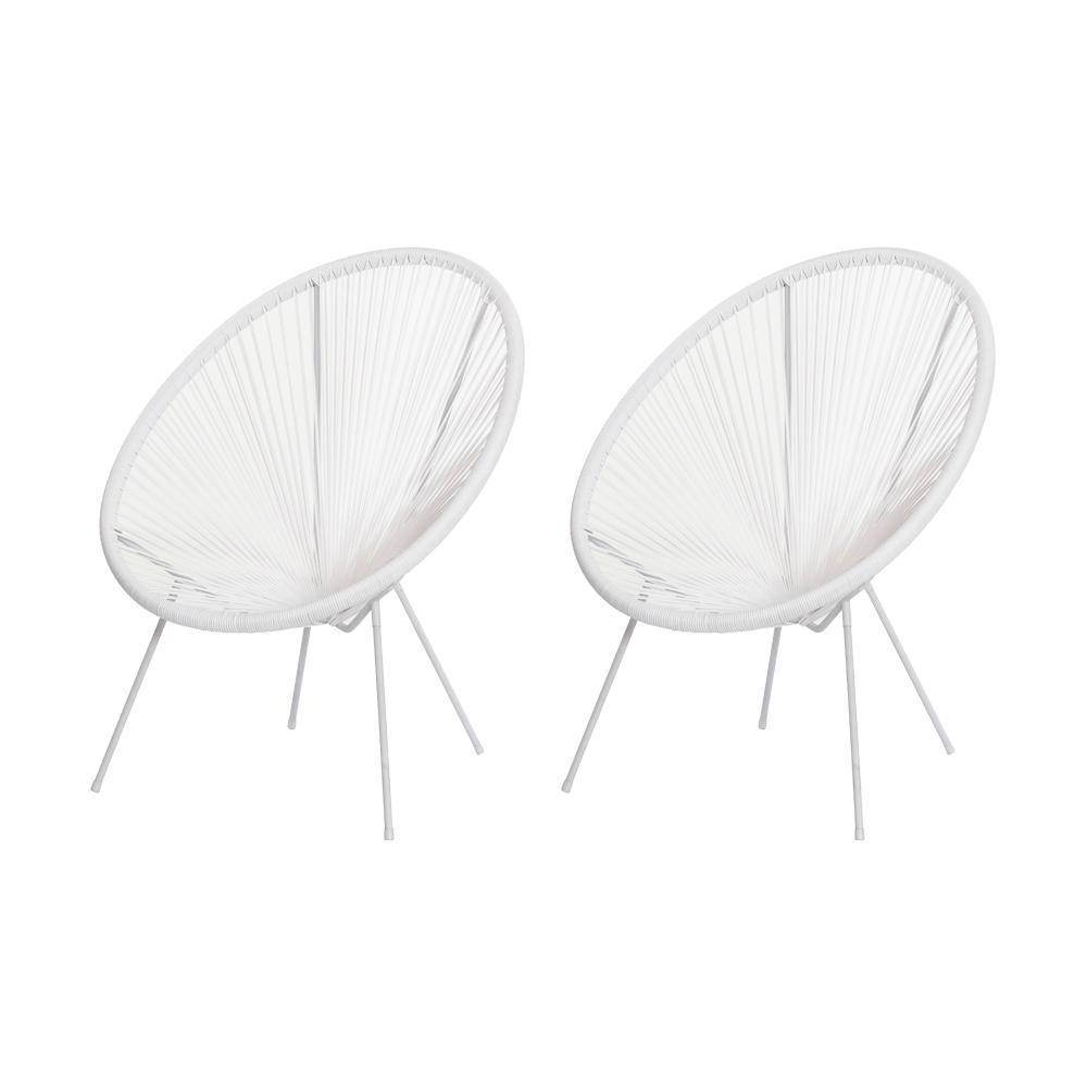 Kit 2 Cadeiras Acapulco Oval Pvc Base Ferro Pintado Branca