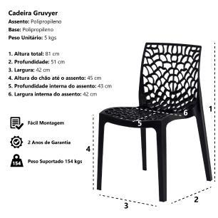 Kit 2 Cadeiras Gruvyer Azul Sala Cozinha Jantar