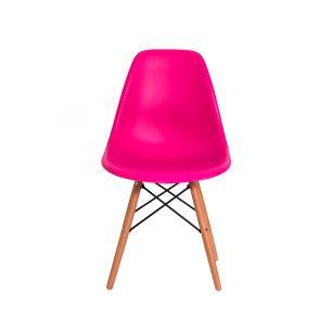 Kit 2 Cadeiras Eiffel Eames Dsw Pink Base Madeira