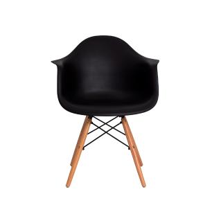 Kit 2 Cadeiras Eiffel Eames Daw C/braço Preta Base Madeira