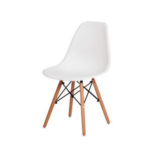 Kit 2  Cadeiras Charles Eames Eiffel Branca Base Madeira Sala Cozinha Jantar