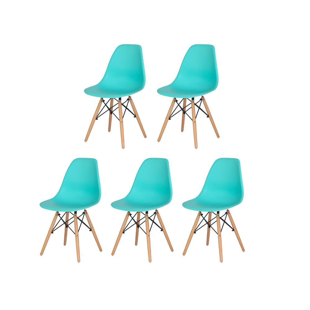 Kit 5 Cadeiras Charles Eames Eiffel Tiffany Base Madeira Sala Cozinha Jantar