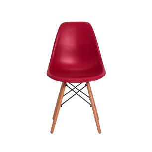 Kit 5 Cadeiras Eiffel Eames Dsw Vinho Base Madeira