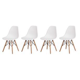 Kit 4 Cadeiras Charles Eames Eiffel Branca Base Madeira Sala Cozinha Jantar