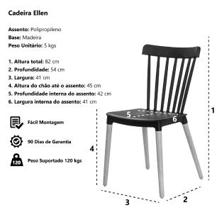 Cadeira Ellen Windsor Polipropileno Branca Base Madeira Sala Cozinha Jantar