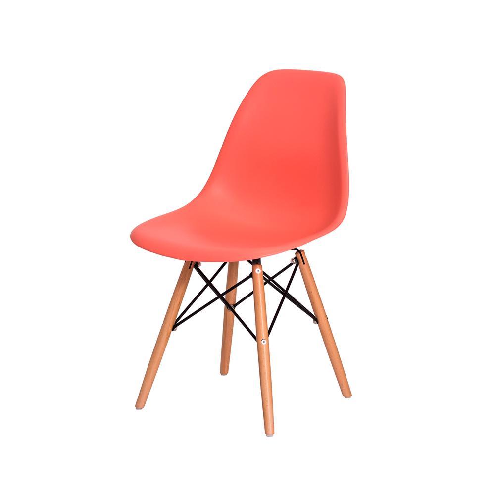 Cadeira Charles Eiffel Eames Living Coral Base Madeira Sala Cozinha Jantar