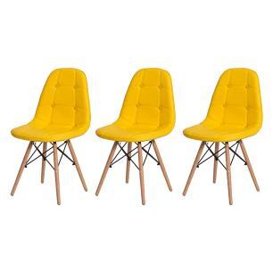 Kit 3 Cadeiras Eiffel Botonê Eames Dsw Amarela Base Madeira Sala Cozinha Jantar