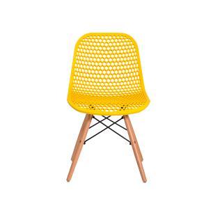 Kit 3 Cadeiras Colméia Eloisa Amarela Sala Cozinha Jantar