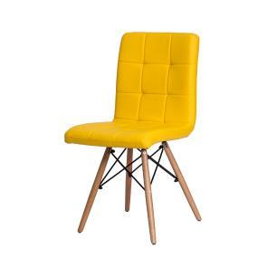 Kit 2 Cadeiras Gomos Amarela Base Madeira