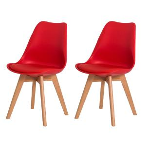 Kit 2 Cadeiras Leda Saarinen Design Vermelha Sala Cozinha Jantar