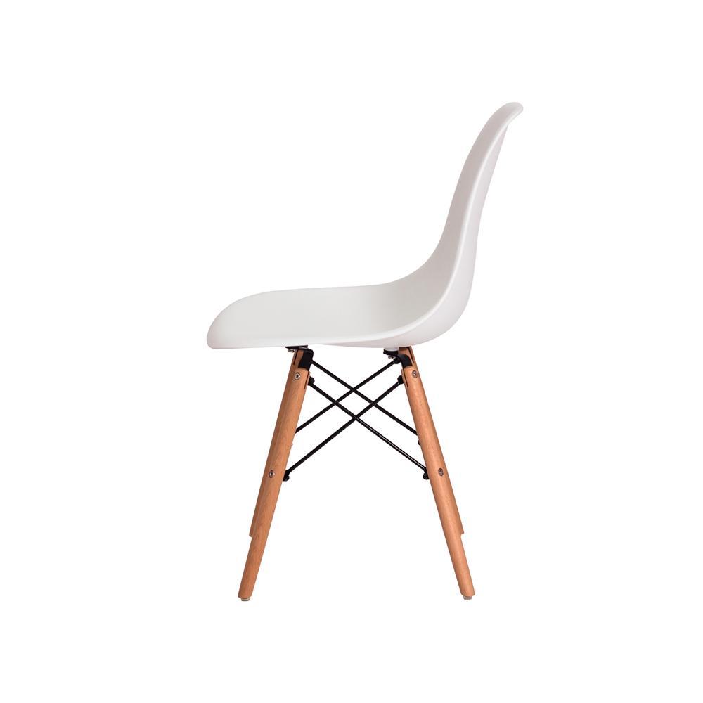 Kit 5 Cadeiras Charles Eames Eiffel Branca Base Madeira Sala Cozinha Jantar