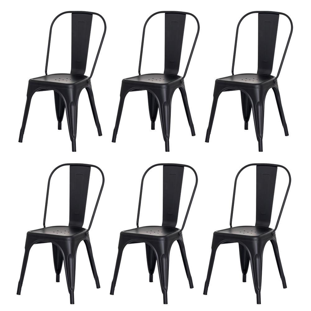 Kit 6 Cadeiras Tolix Iron Design Preto Fosco Aço Industrial Sala Cozinha Jantar Bar
