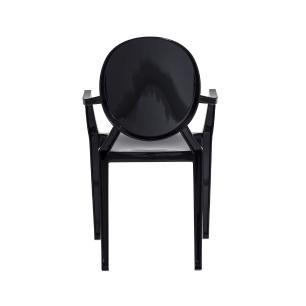 Kit 2 Cadeiras Louis Ghost Preta Sólido