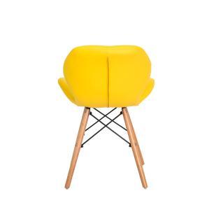 Kit 2 Cadeiras Slim Amarela Base Madeira