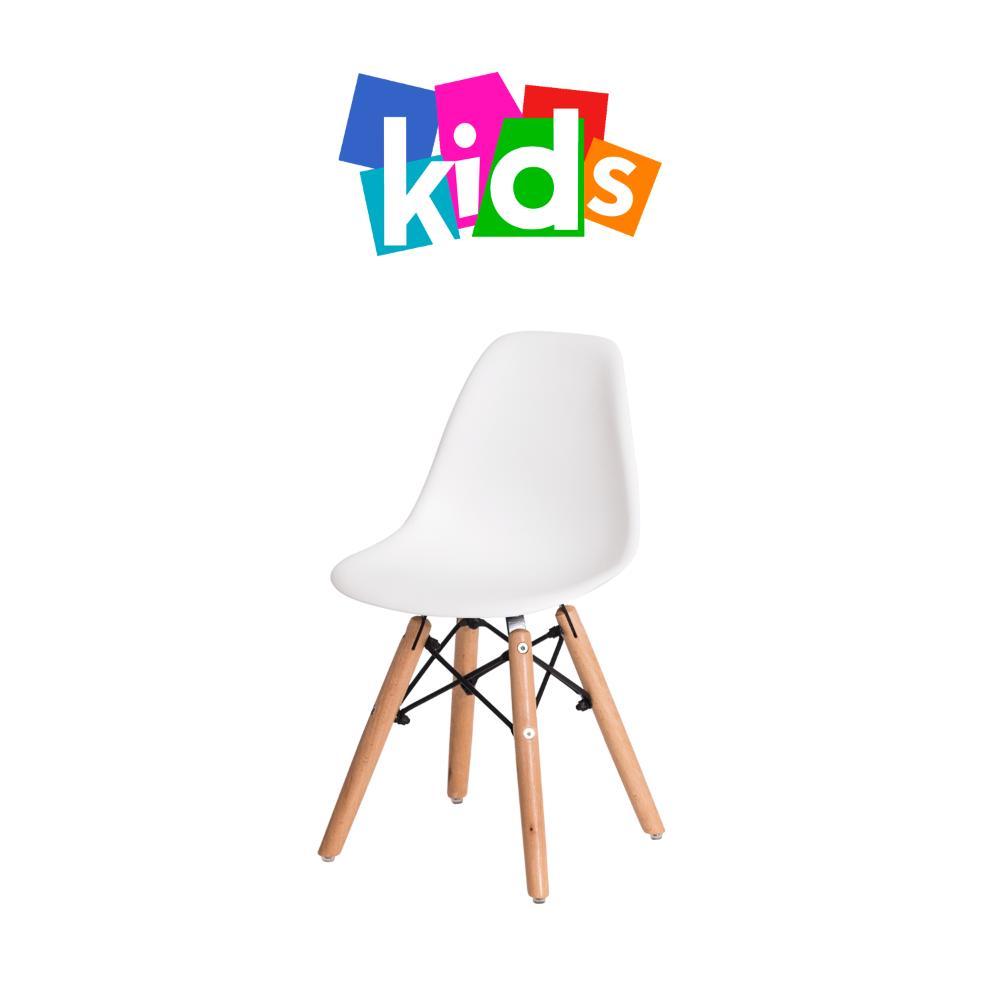 Cadeira Eiffel Kids Branca Base Madeira