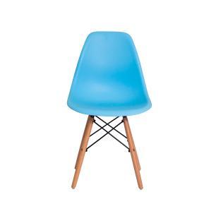 Kit 5 Cadeiras Eiffel Eames Dsw Azul Claro Base Madeira