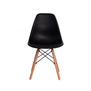 Kit 6 Cadeiras Eiffel Eames Dsw Preta Base Madeira