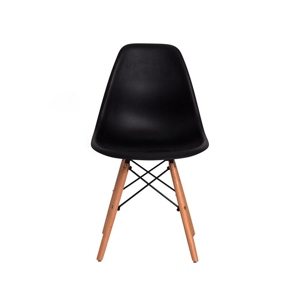 Kit 6 Cadeiras Charles Eames Eiffel Preta Base Madeira Sala Cozinha Jantar