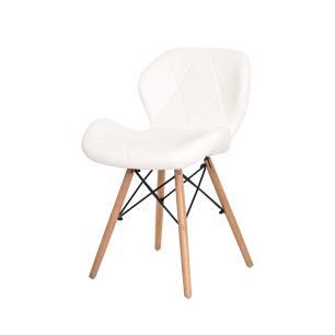 Kit 2 Cadeiras Slim Branca Base Madeira