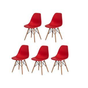 Kit 5 Cadeiras Charles Eames Eiffel Vermelha Base Madeira Sala Cozinha Jantar