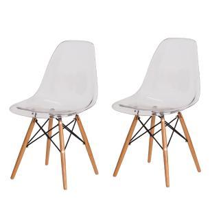 Kit 2 Cadeiras Eiffel Eames Dsw Transparente Base Madeira Sala Cozinha Jantar