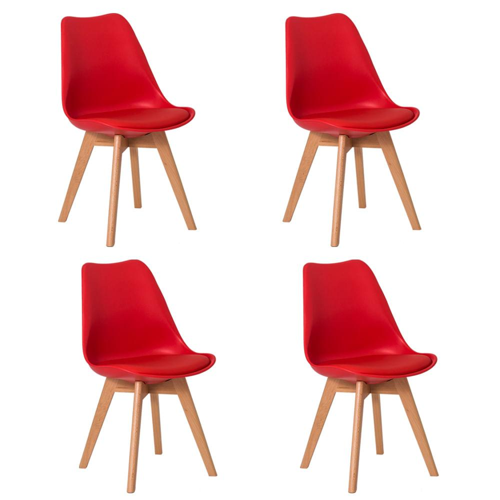 Kit 4 Cadeiras Leda Saarinen Design Vermelha Sala Cozinha Jantar