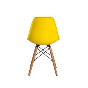 Kit 2 Cadeiras Charles Eames Eiffel Amarela Base Madeira Sala Cozinha Jantar