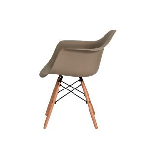 Kit 2 Cadeiras Eiffel Eames Daw C/braço Nude Base Madeira
