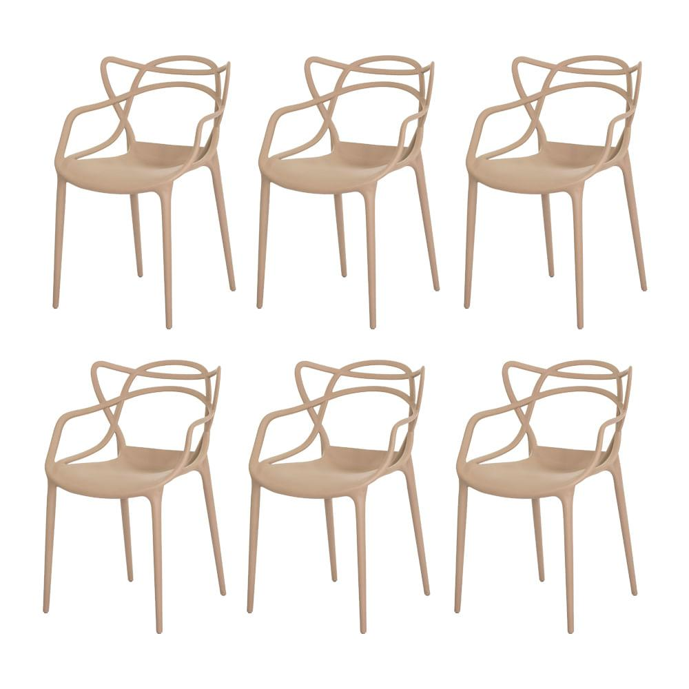 Kit 6 Cadeiras Allegra Nude Sala Cozinha Jantar