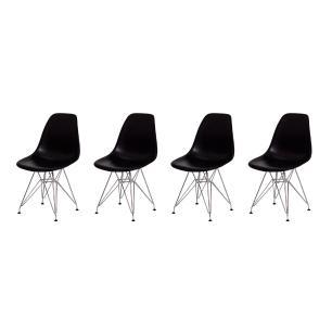 Kit 4 Cadeiras Eiffel Eames Preta Base Cromada Sala Cozinha Jantar