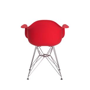 Kit 2 Cadeiras Eiffel Eames c/ Braço Base Cromada Vermelha