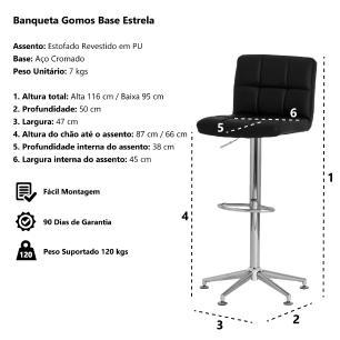 Banqueta Estofada Gomos Marrom Café Base Estrela Cromada Altura Regulável Cozinha Bar Bancada
