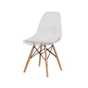 Kit 2 Cadeiras Eiffel Eames Dsw Transparente Base Madeira