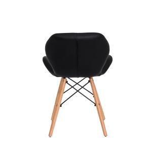 Kit 2 Cadeiras Slim Preta Base Madeira