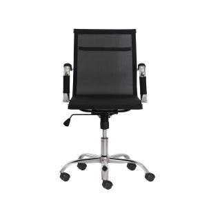 Cadeira Escritório Mesh Diretor Preta Base Giratória Cromada Altura Ajustável