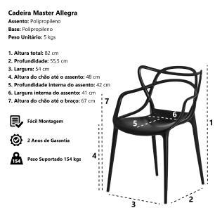 Kit 3 Cadeiras Allegra Preta Sala Cozinha Jantar
