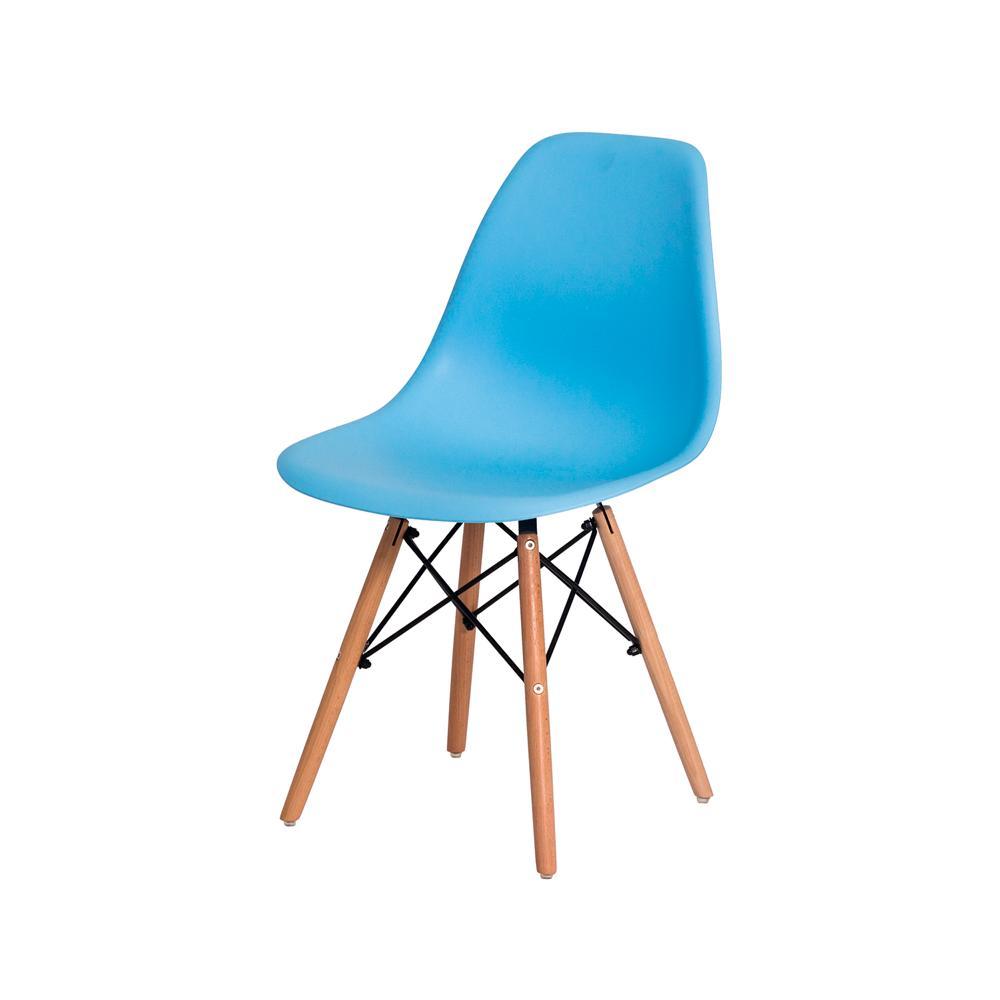 Kit 3 Cadeiras Charles Eames Eiffel Azul Claro Base Madeira Sala Cozinha Jantar