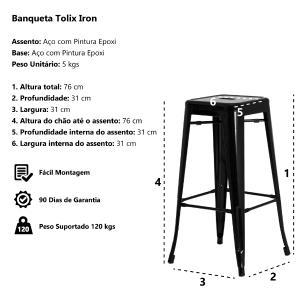 Kit 4 Banquetas Tolix Iron Design Industrial Preta 76 cm Aço Cozinha Bar Bistrô Bancada
