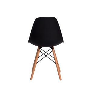 Kit 4 Cadeiras Eiffel Eames Dsw Preta Base Madeira
