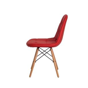 Kit 3 Cadeiras Eiffel Botonê Eames Dsw Vermelha Base Madeira Sala Cozinha Jantar