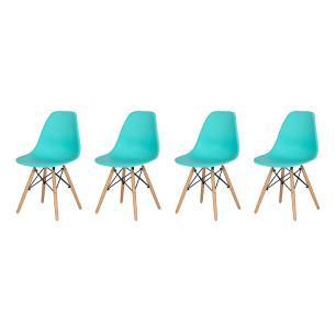 Kit 4 Cadeiras Charles Eames Eiffel Tiffany Base Madeira Sala Cozinha Jantar
