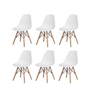 Kit 6 Cadeiras Charles Eames Eiffel Branca Base Madeira Sala Cozinha Jantar