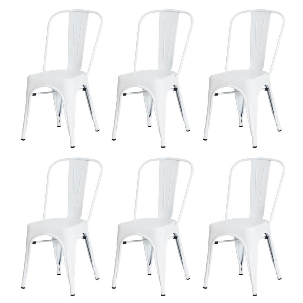 Kit 6 Cadeiras Tolix Iron Design Branca Aço Industrial Sala Cozinha Jantar Bar