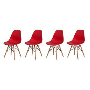 Kit 4 Cadeiras Charles Eames Eiffel Vermelha Base Madeira Sala Cozinha Jantar