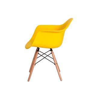 Kit 2 Cadeiras Eiffel Eames Daw C/braço Amarela Base Madeira