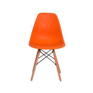 Kit 3 Cadeiras Eiffel Eames Dsw Laranja Base Madeira