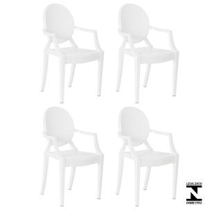 Kit 4 Cadeiras Louis Ghost Branca Policarbonato Sala Cozinha Jantar