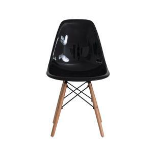 Kit 2 Cadeiras Eiffel Eames Abs Base Madeira Preta