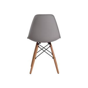 Kit 2 Cadeiras Charles Eames Eiffel Cinza Base Madeira Sala Cozinha Jantar